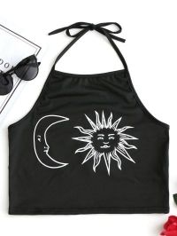 Halter Sun and Moon Print Crop Top