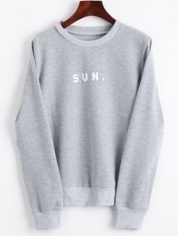 Crew Neck Letter Graphic Sweatshirt