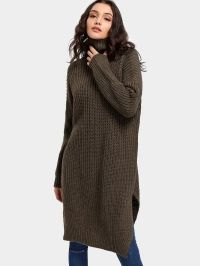 Turtleneck Side Slit Tunic Sweater