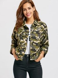 Button Up Camo Print Jacket