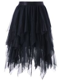 Layered Asymmetrical Tulle Skirt