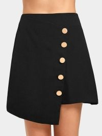 High Waist Button Up Asymmetric Skirt