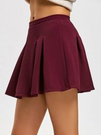 High Waist Pleated Mini Flare Skirt