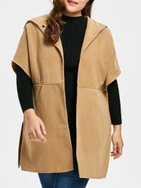 Plus Size Faux Suede Hooded Poncho Coat