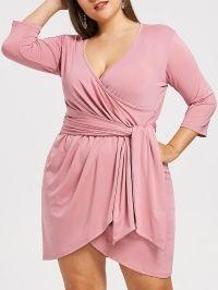 Surplice Plus Size Asymmetrical Dress
