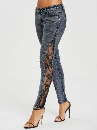 See Through Lace Panel Jeans