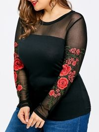 Plus Size Sheer Embroidery Long Sleeve T-shirt