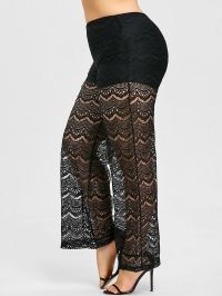 Plus Size Sheer Lace Palazzo Pants