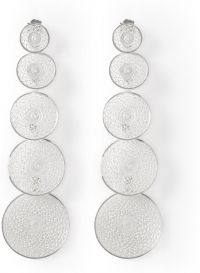 Silver filigree earring four hanging coins