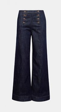 Organic flared jeans met knopen