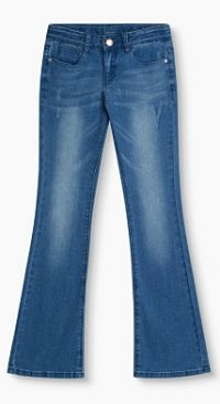 Flared jeans met used-look