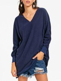 Oversized V Neck Tunic Sweatshirt