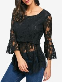 See Through Lace Bell Sleeve Blouse