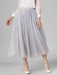 Tulle High Waist Midi Skirt