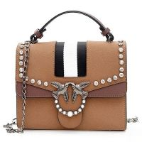 Striped Birds Embellished Rhinestone Crossbody Bag