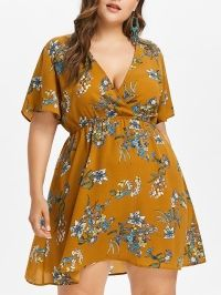 Plus Size Print Low Cut Surplice Dress