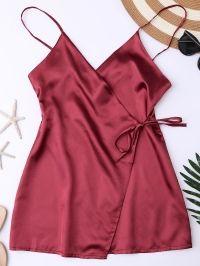 Silky Cami Wrap Slip Dress