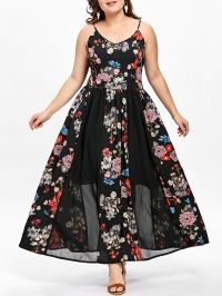 Plus Size Bohemian Floral Flowing Slip Dress