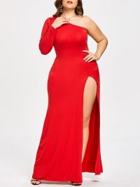 Plus Size One Shoulder High Split Evening Dress