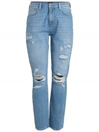 PIECES Low Waist Destroyed Boyfriend Jeans Dames Blauw