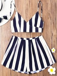 Striped Cami Top with Wide Leg Shorts