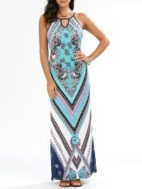 Keyhole Neck Floral Chevron Tall Maxi Dress