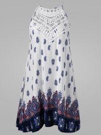 Cutwork Tie Back Sleeveless Dress