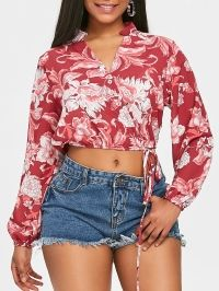 Floral Crop Wrap Blouse