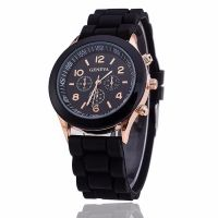 Geneva dames horloge silicon Black Gold
