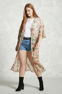Plus Size Foliage Print Kimono