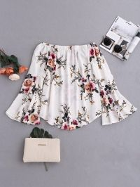 Flare Sleeve Floral Off Shoulder Blouse