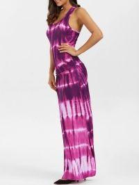 Bohemian Tie-Dye Illusion Print Racerback Long Tank Dress