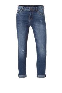 cropped slim fit jeans met slijtage details