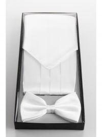 Set met cumberband, pochet en smokingstrik in wit