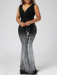 Plus Size Sequins Fishtail Maxi Evening Prom Dress