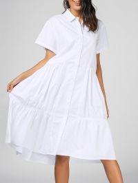 Flounces Shirt Short Sleeve Midi Dress