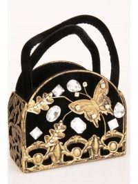 Bronzen tasje met vlinder en zwart fluweel