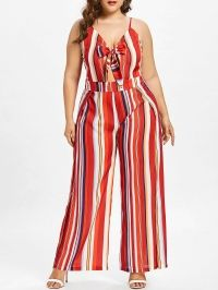 Plus Size Striped Tie Front Jumpsuit