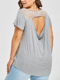 Plus Size Lace Trim Open Back T-shirt