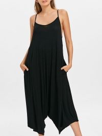 Open Back Slip Pocket Jumpsuits