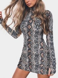 Snake Pattern Perkins Collar Long Sleeves Sexy Bodycon Dress