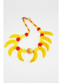 Korte geel-oranje fruit-halsketting