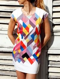 Chic Scoop Collar Short Sleeve Geometric Print Women's Dress