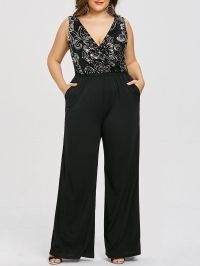 Plus Size Glittery Sleeveless Plunging Palazzo Jumpsuit