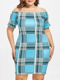 Plus Size Plaid Off Shoulder Dress