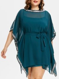Sequin Insert Plus Size Dress With Belt