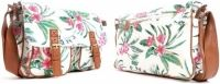 Nicole Brown Tropical Flowers Omhang Schoudertas met flap Canvas Tas Trendy