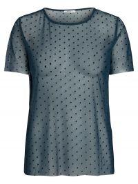 PIECES Gestippelde Mesh T-shirt Dames Blauw