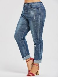 Back Pockets Plus Size Ripped Boyfriend Jeans