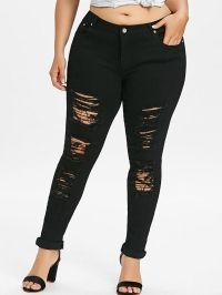 Plus Size Ripped Distressed Jeans